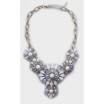 Princess Aurora White Floral Statement Necklace